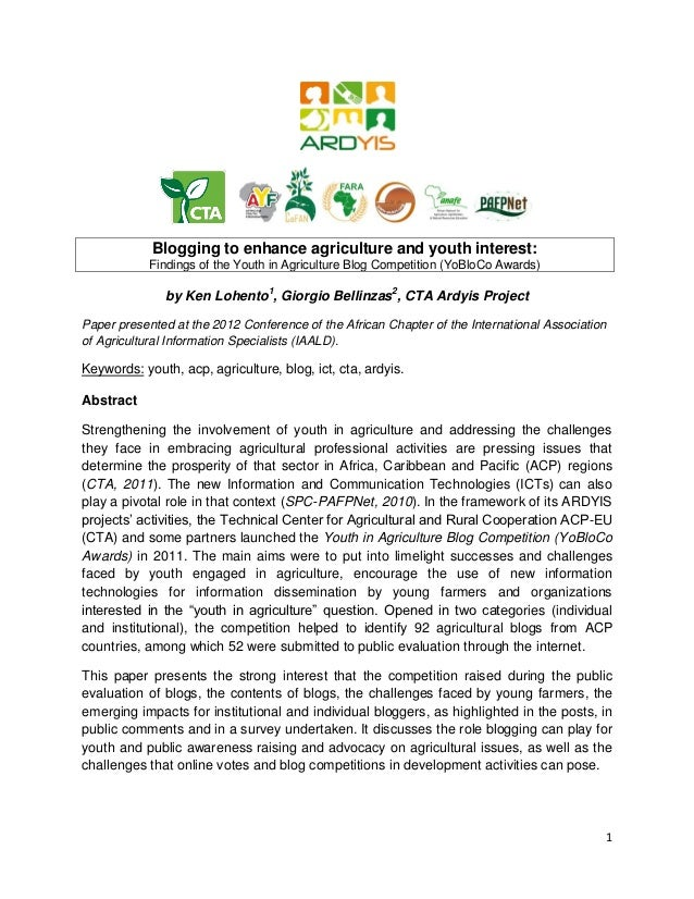 Blogging to enhance agriculture and youth interest:            Findings of the Youth in Agriculture Blog Competition (YoBl...