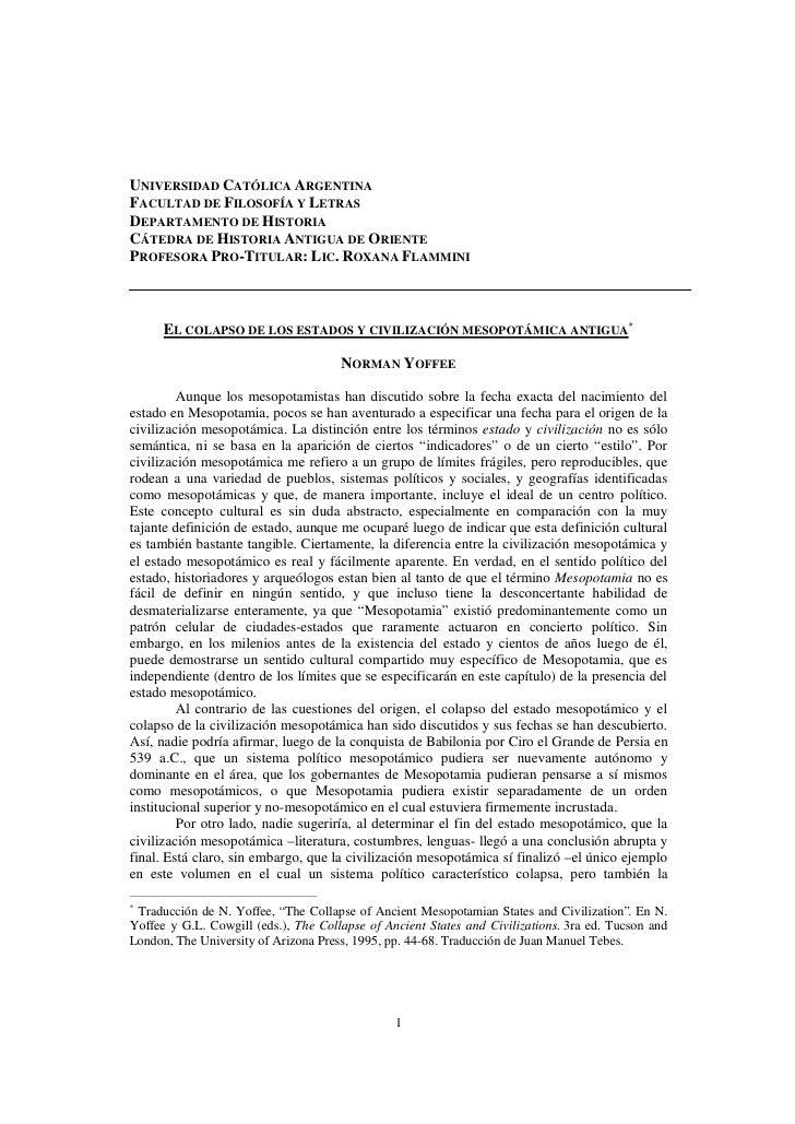 UNIVERSIDAD CATÓLICA ARGENTINA FACULTAD DE FILOSOFÍA Y LETRAS DEPARTAMENTO DE HISTORIA CÁTEDRA DE HISTORIA ANTIGUA DE ORIE...