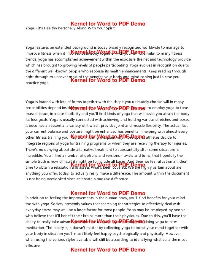 Kernel for Word to PDF DemoYoga Its Healthy Personally Along With Your SpiritYoga features an extended background is today...