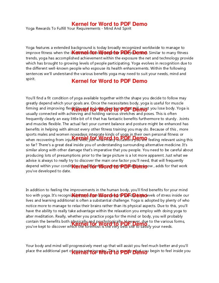 Kernel for Word to PDF DemoYoga Rewards To Fulfill Your Requirements Mind And SpiritYoga features a extended background is...