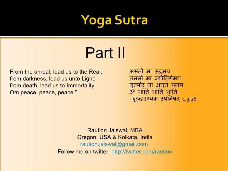Yoga Sutra II