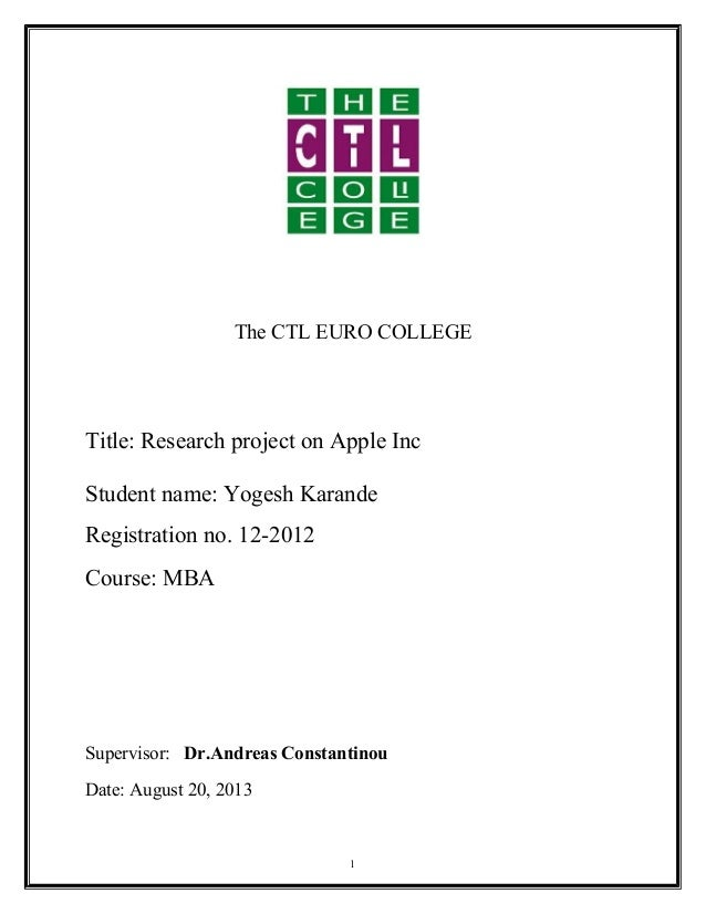 mba project report-on-apple-inc