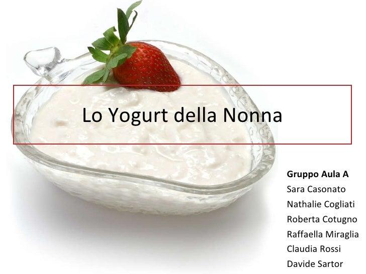 Lo Yogurt della Nonna Gruppo Aula A Sara Casonato Nathalie Cogliati Roberta Cotugno Raffaella Miraglia Claudia Rossi David...