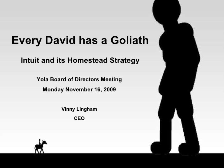 Every David has a Goliath Intuit and its Homestead Strategy Yola Board of Directors Meeting Monday November 16, 2009 Vinny...
