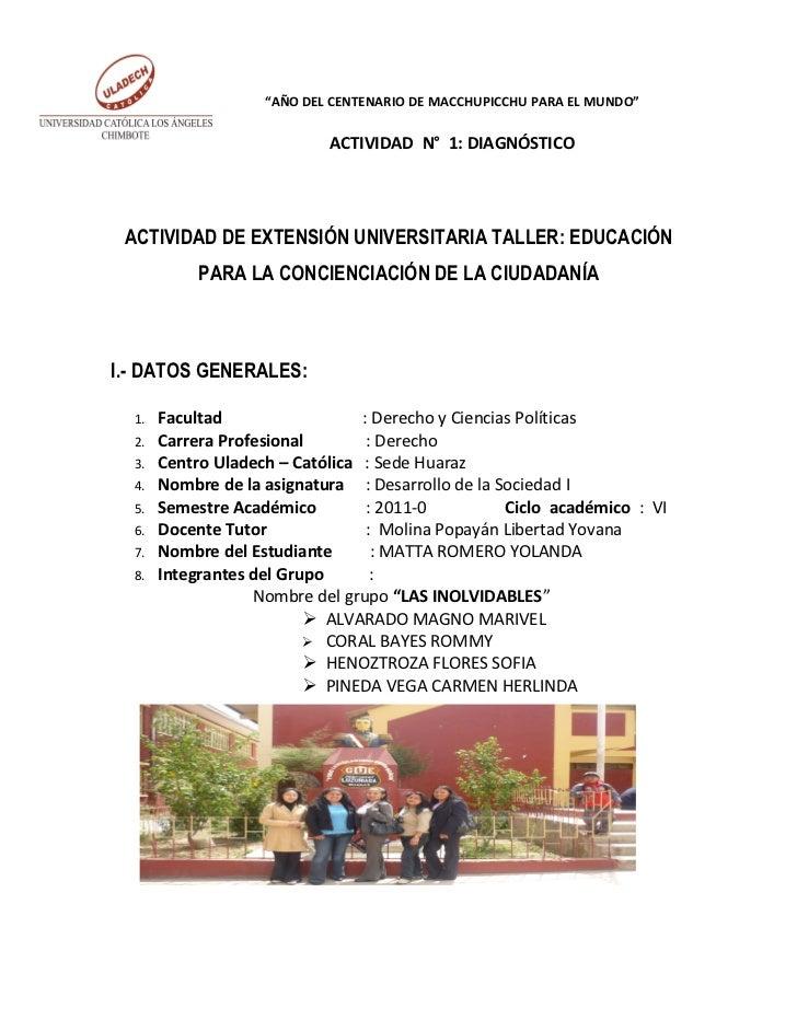 """""""AÑO DEL CENTENARIO DE MACCHUPICCHU PARA EL MUNDO""""                            ACTIVIDAD N° 1: DIAGNÓSTICO ACTIVIDAD DE EXT..."""