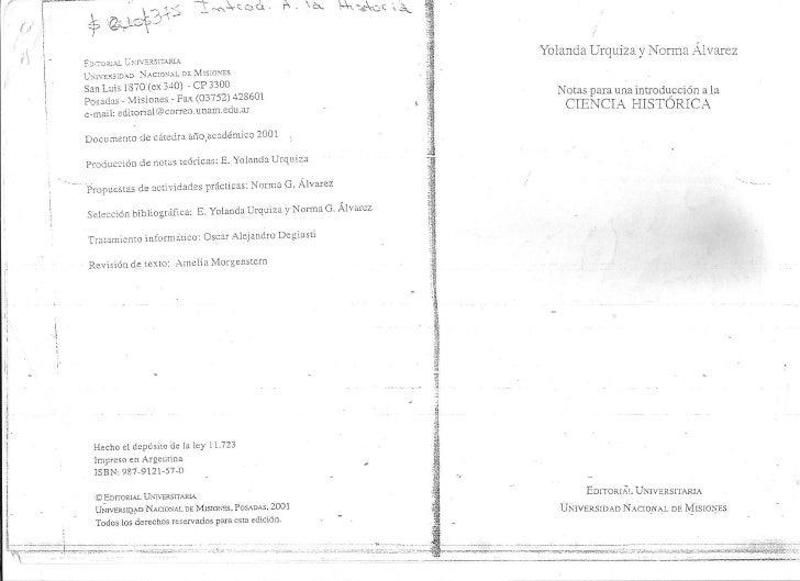 Yolanda Urquiza y Norma Alvarez  - Notas para la introducción a la Ciencia Historica