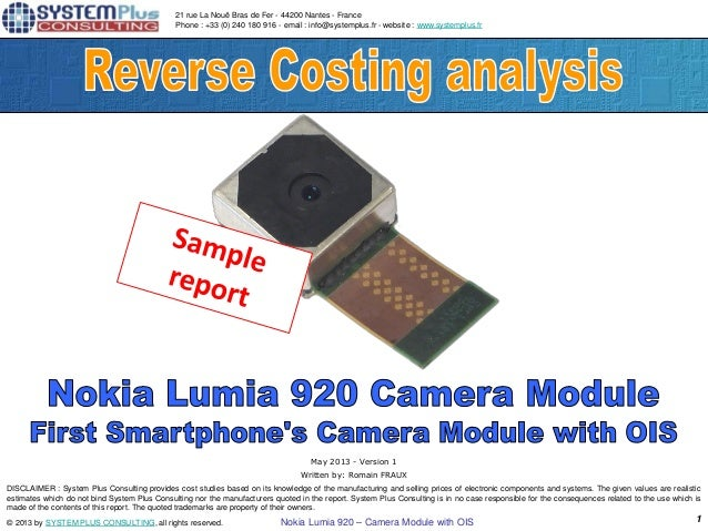 Nokia Lumia 920 - Camera Module with OIS teardown Report by published Yole Developpement