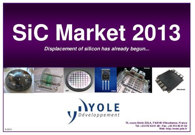© 2013SiC Market 2013Displacement of silicon has already begun...Dow corningII-VI AIST DensoCREE75, cours Emile ZOLA, F-69...