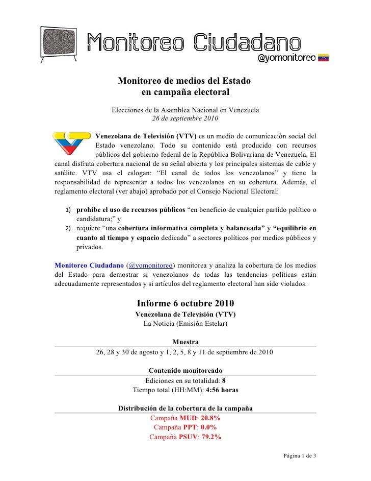 Monitoreo de medios del Estado  en campaña electoral 2010 (Venezuela)