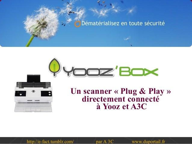 http://e-fact.tumblr.com/ par A 3C www.duportail.fr Un scanner « Plug & Play » directement connecté à Yooz et A3C
