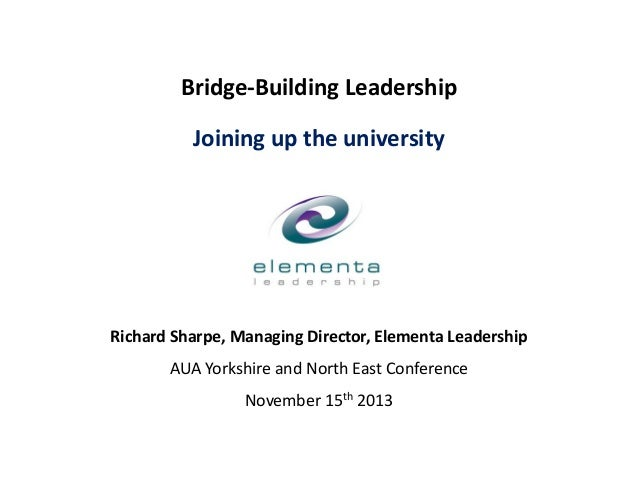 Bridge-Building Leadership Joining up the university  Richard Sharpe, Managing Director, Elementa Leadership AUA Yorkshire...