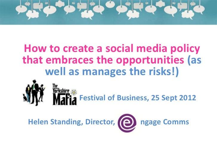 Yorkshire mafia social media policies workshop 25.09.12