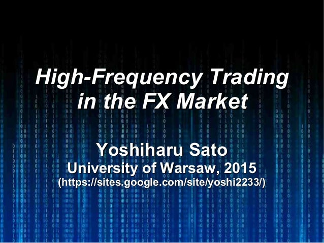 high frequency trading strategies in fx markets