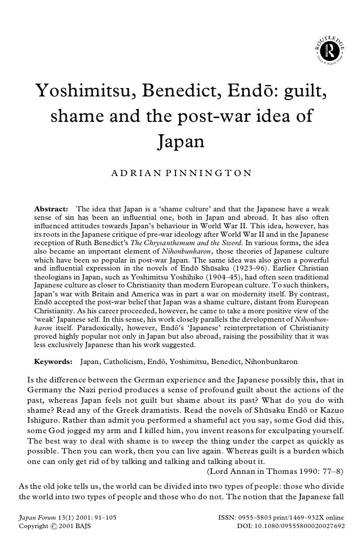 Yoshimitsu, Benedict, Endo: guilt,                               ¯       shame and the post-war idea of                   ...