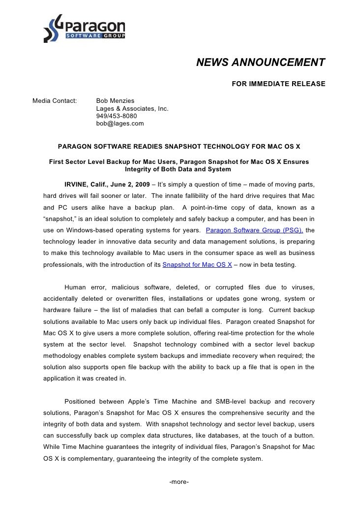 NEWS ANNOUNCEMENT                                                                       FOR IMMEDIATE RELEASE  Media Conta...