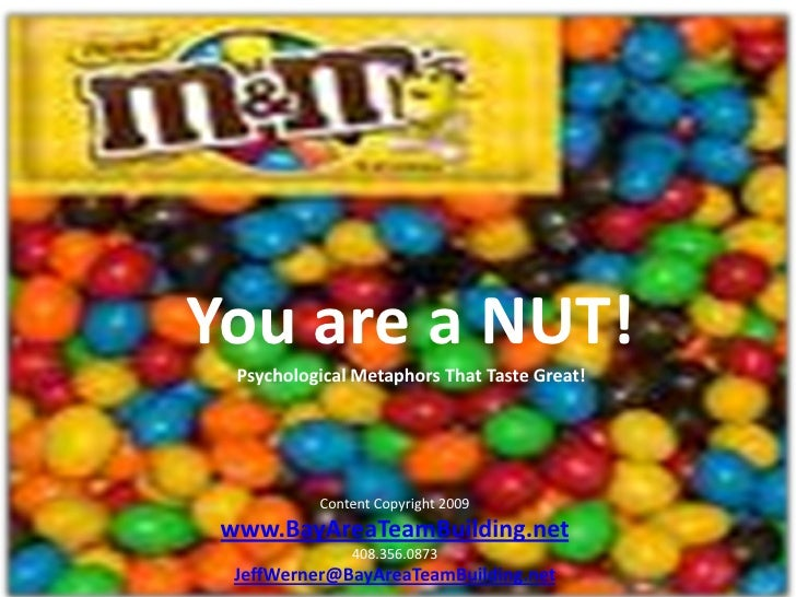 You are a NUT!   Psychological Metaphors That Taste Great!                Content Copyright 2009  www.BayAreaTeamBuilding....