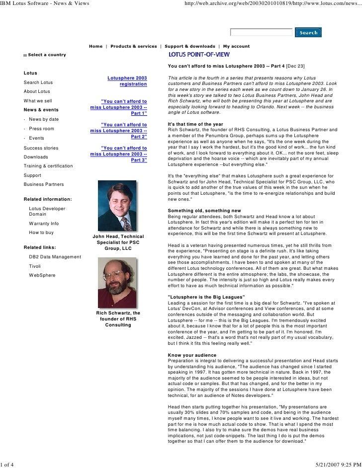 IBM Lotus Software - News & Views                                        http://web.archive.org/web/20030201010819/http://...
