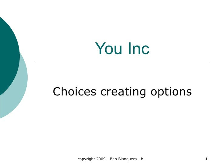 You Inc Choices creating options