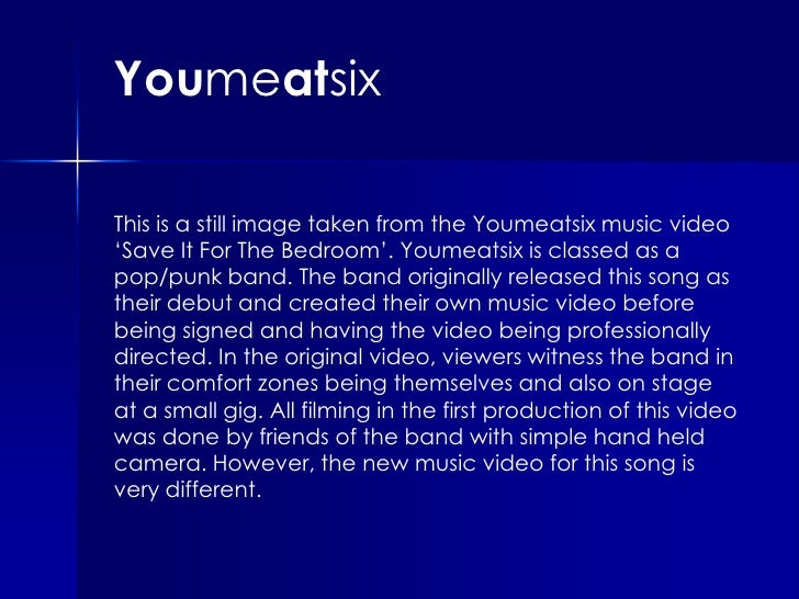 Youmeatsix<br />This is a still image taken from the Youmeatsix music video 'Save It For The Bedroom'. Youmeatsix is class...