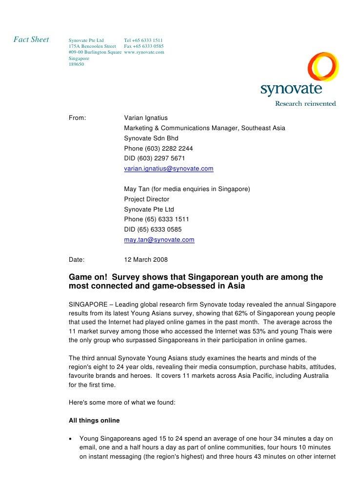 Young Asian 2007 - Singapore Fact Sheet