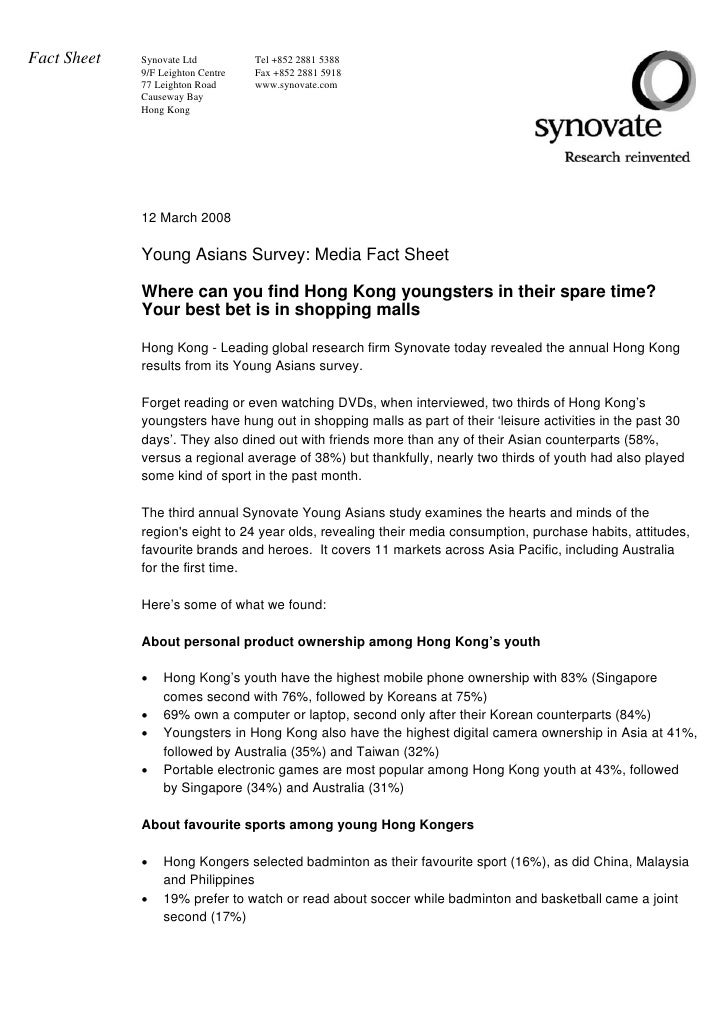 Fact Sheet   Synovate Ltd          Tel +852 2881 5388              9/F Leighton Centre   Fax +852 2881 5918              7...