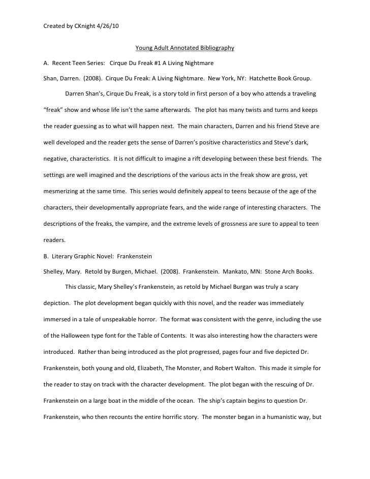 Annotated bibliography research paper example