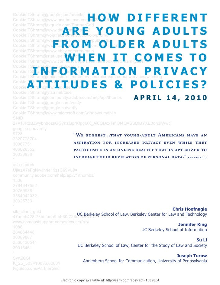 Young Adults And On Line Privacy