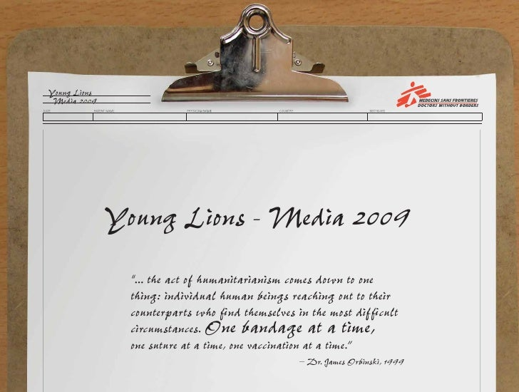 "Young Lions  Media 2009                   Young Lions - Media 2009                 ""... the act of humanitarianism comes d..."