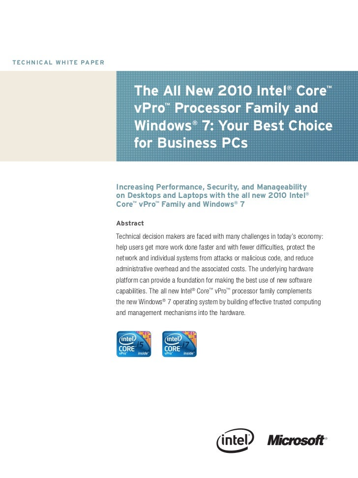 T EC H N I C A L W H IT E PA P E R                                                The All New 2010 Intel® Core™           ...