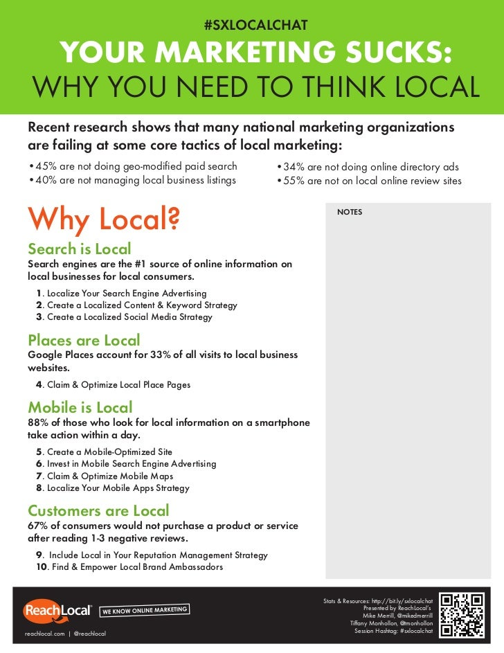 #SXLOCALCHAT   YOUR MARKETING SUCKS:  WHY YOU NEED TO THINK LOCALRecent research shows that many national marketing organi...