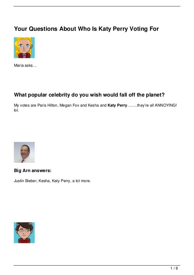 Your Questions About Who Is Katy Perry Voting For