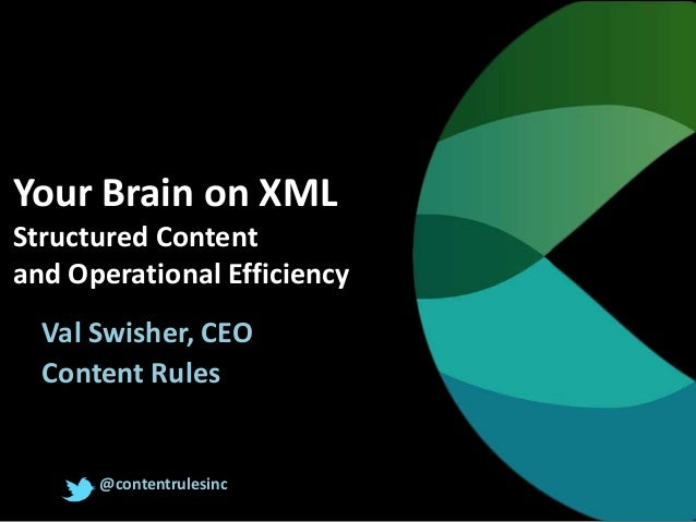Your Brain on XML Structured Content and Operational Efficiency Val Swisher, CEO Content Rules @contentrulesinc