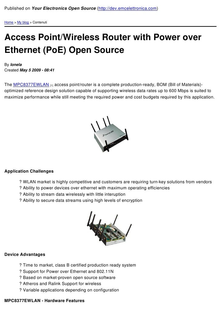 Published on Your Electronics Open Source (http://dev.emcelettronica.com)   Home > My blog > Contenuti     Access Point/Wi...