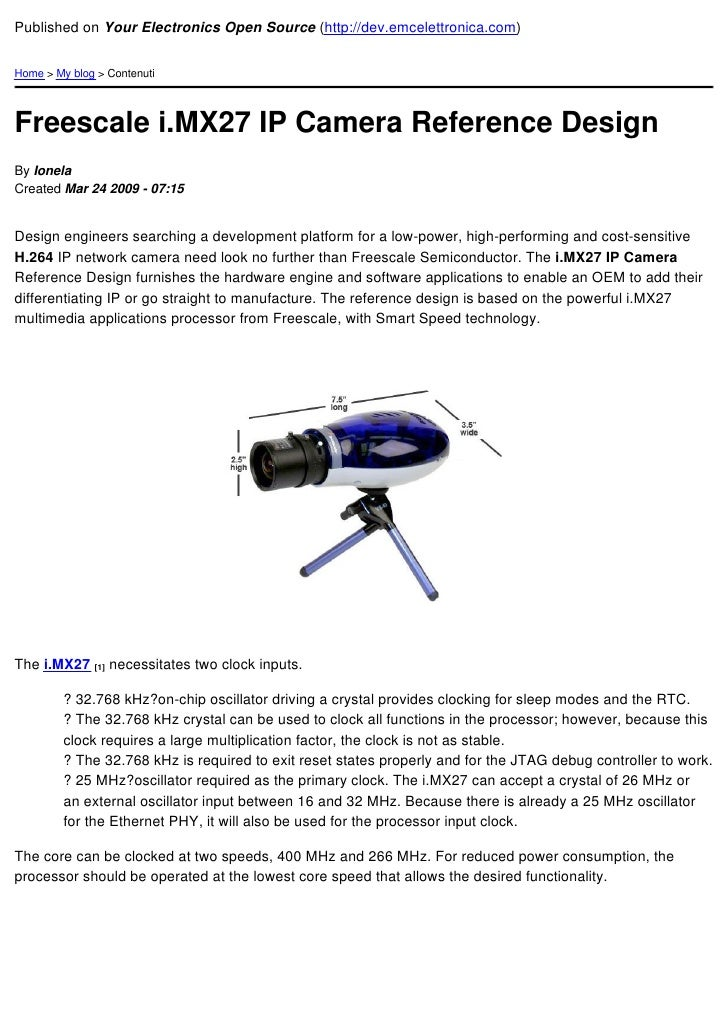 Freescale I.Mx27 Ip Camera Reference Design