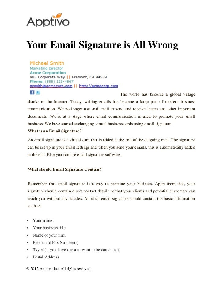 Your email signature is all wrong