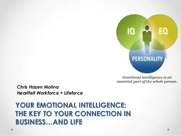 Chris Hazen MolinaHeartfelt Workforce + LifeforceYOUR EMOTIONAL INTELLIGENCE:THE KEY TO YOUR CONNECTION INBUSINESS…AND LIFE