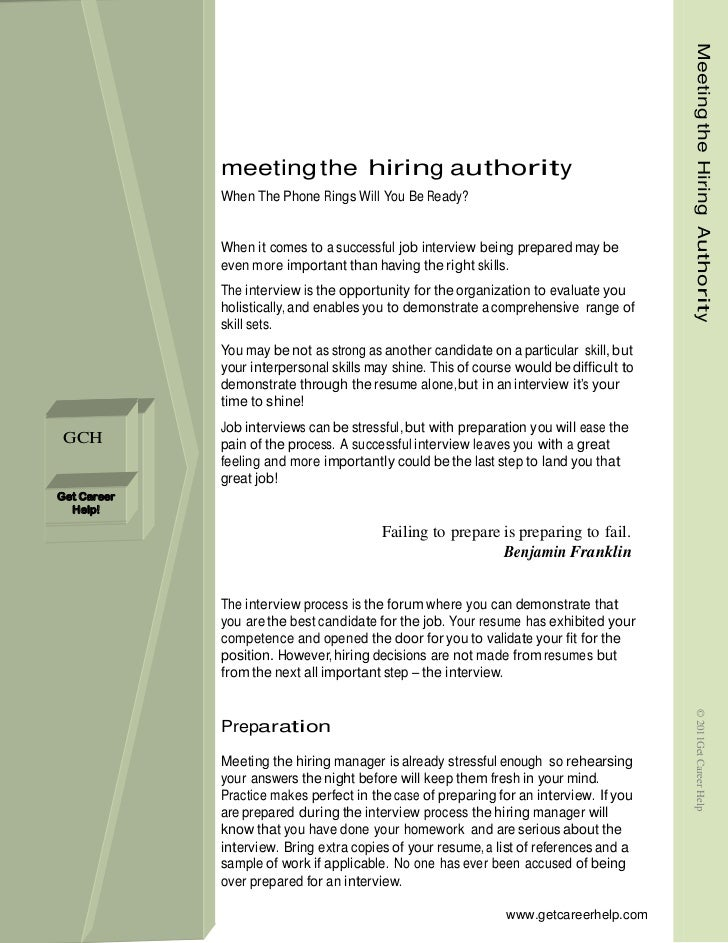Meeting the Hiring Authority             meeting the hiring authority             When The Phone Rings Will You Be Ready? ...
