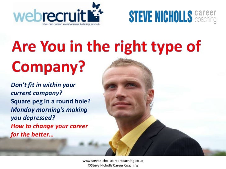 Don't fit in within yourcurrent company?Square peg in a round hole?Monday morning's makingyou depressed?How to change your...