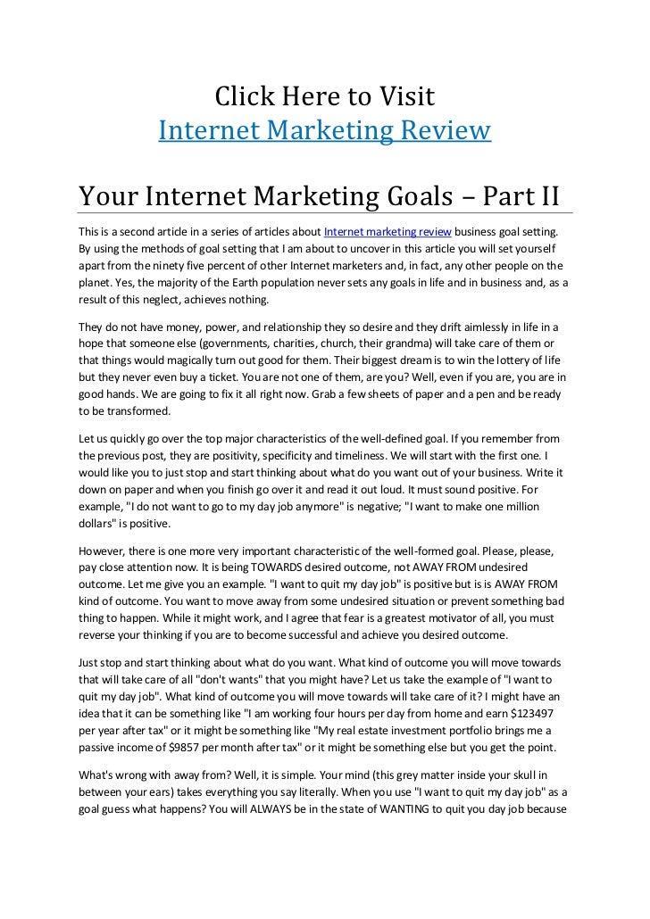 Goal Settings for Success Online