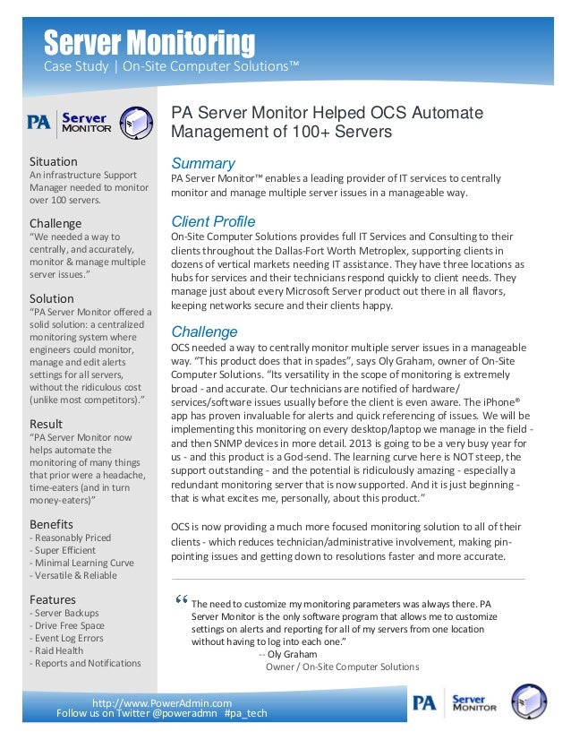 Server Monitoring   Case Study | On-Site Computer Solutions™                                PA Server Monitor Helped OCS A...