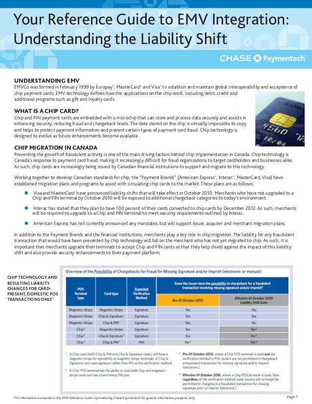 Your Reference Guide to EMV Integration: Understanding the Liability Shift Page 1 UNDERSTANDING EMV EMVCo was formed in Fe...
