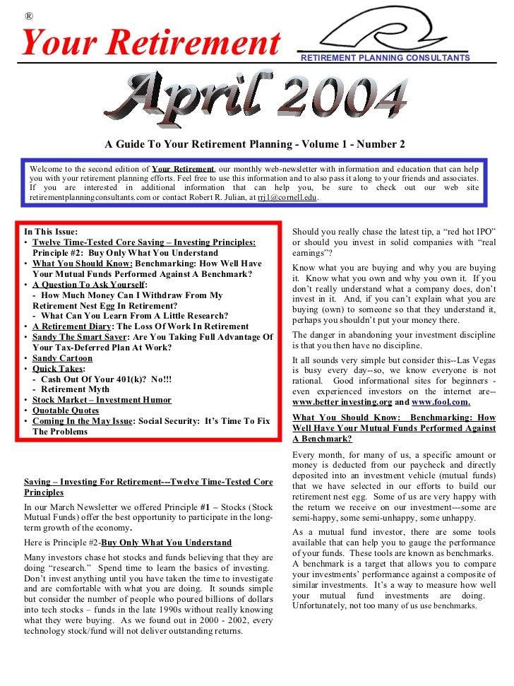 Your+Retirement+ +April+2004+Newsletter