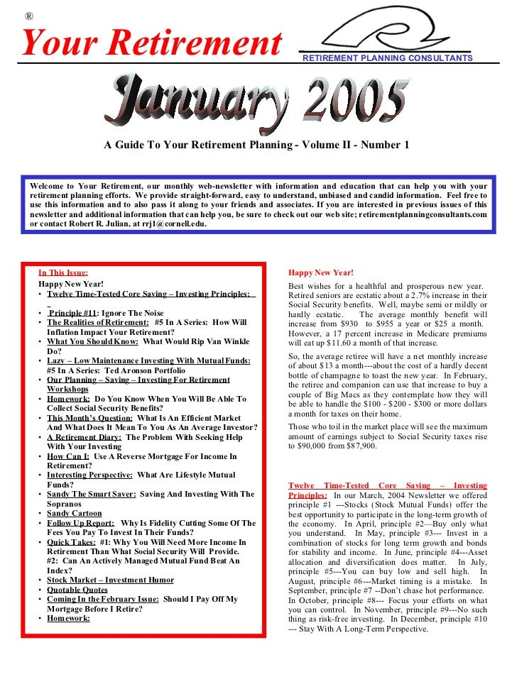 Your+Retirement Jan+2005+Newsletter