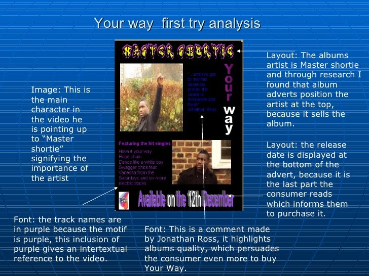 Your way  first try analysis Layout: The albums artist is Master shortie and through research I found that album adverts p...