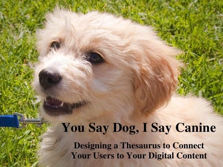 You Say Dog I Say Canine