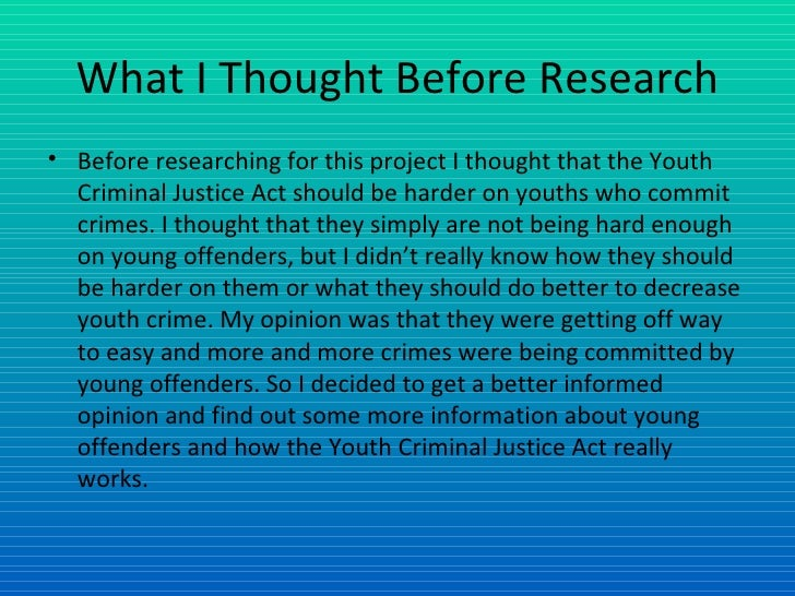 essays on youth criminal justice act