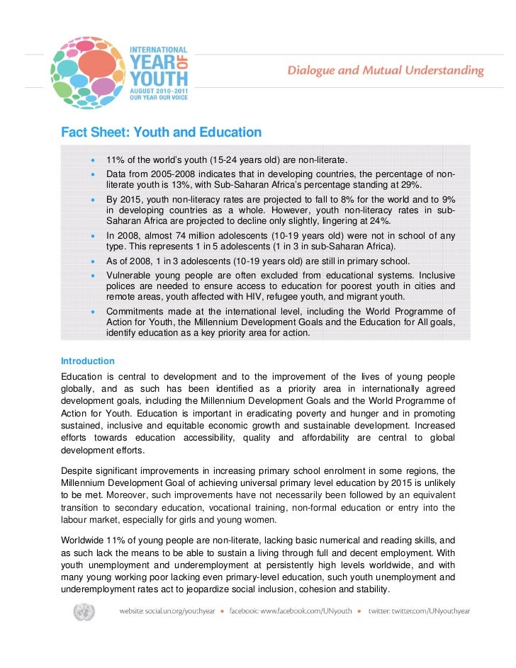 Fact Sheet: Youth and Education