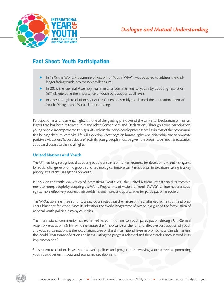 Dialogue and Mutual Understanding       Fact Sheet: Youth Participation           zz n 1995, the World Programme of Action...