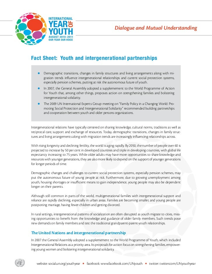 Dialogue and Mutual Understanding       Fact Sheet: Youth and intergenerational partnerships           zz  emographic     ...