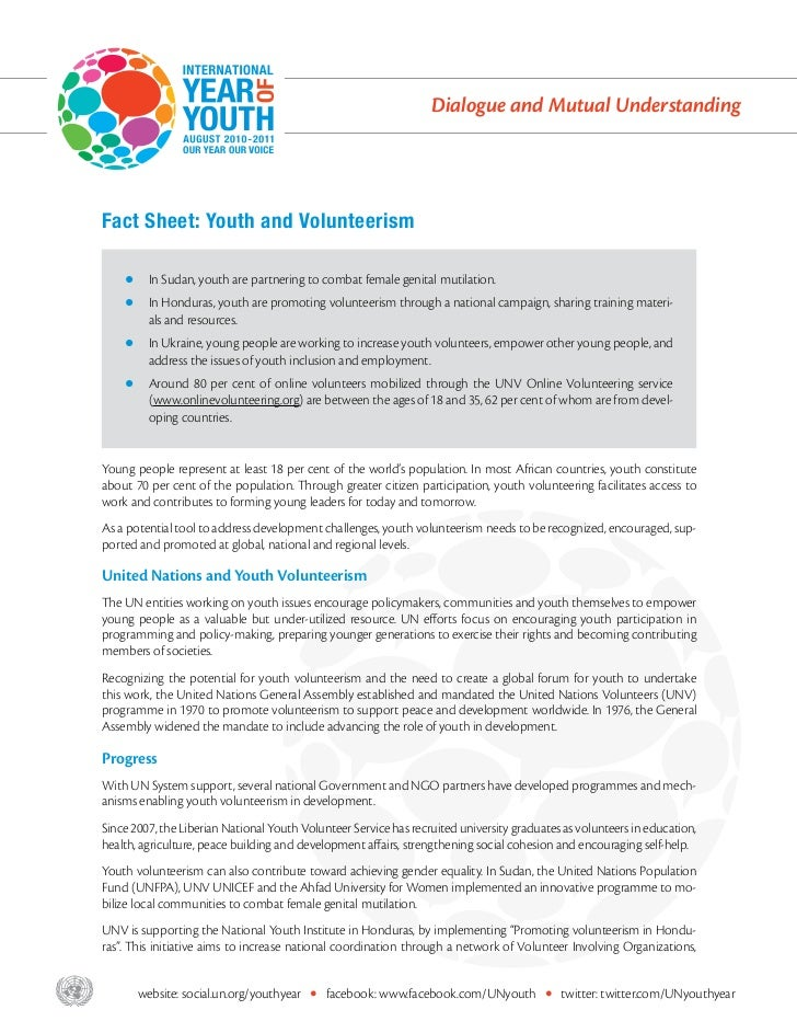 Fact Sheet: Youth and Volunteerism
